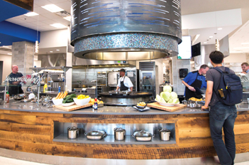 Student in College Dining Center