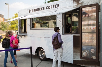 Students at Starbucks Food Truck