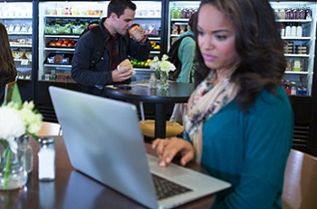 Student in Campus Dining Area