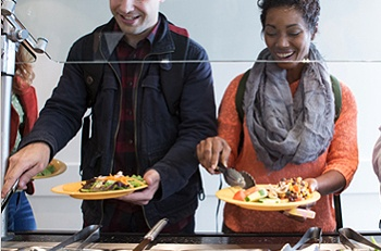 Students Dining Buffet Line