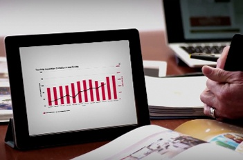 laptop screen with bar chart
