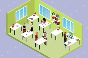 cartoon image of classroom