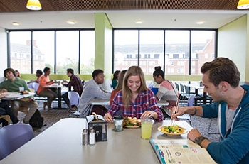 students eating in dining hall
